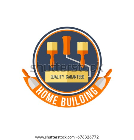 Work Tools For Home Building, Renovation And Repair. Vector Isolated Icon  Of Painting And