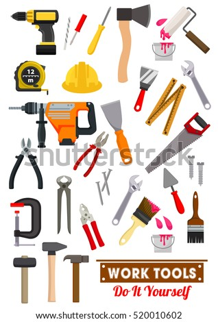 Work tools icons with hammer and spanner, screwdriver, wrench, pliers, saw, measuring tape and axe, paint roller, brush, drill and spatula, nail and screw, trowel. Carpentry and construction design