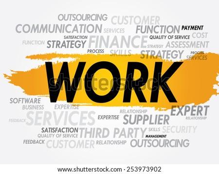 WORK word cloud, business concept - stock vector