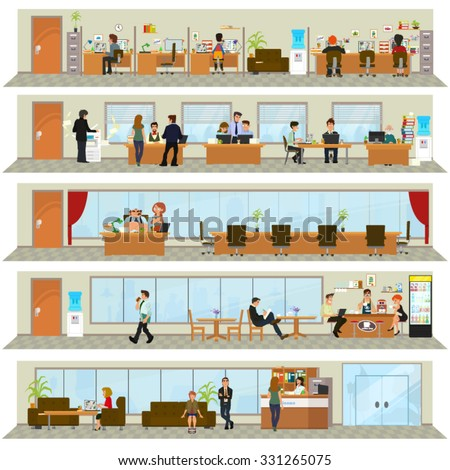 building an office. Workday In An Office Building. People The Interior Of Building Different Poses H