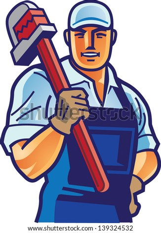 worker and wrench 2 - stock vector