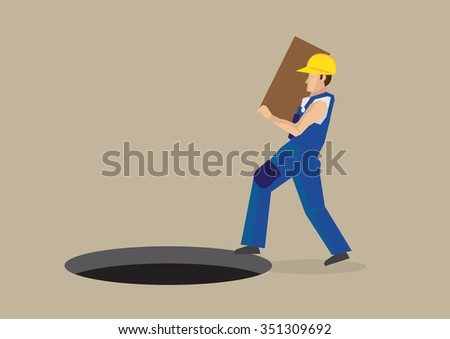 Worker carrying a box walking right into a exposed manhole on the ground in front of him. Vector illustration for workplace hazards concept isolated on plain background. - stock vector
