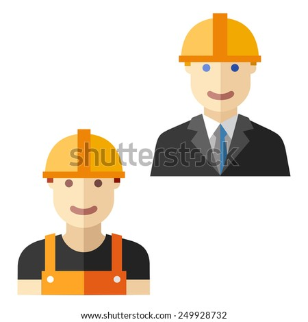 worker construction flat avatar set - stock vector