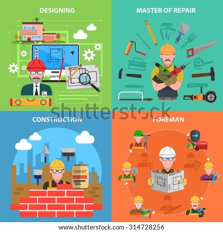 Worker design concept set with construction and repair flat icons isolated vector illustration - stock vector