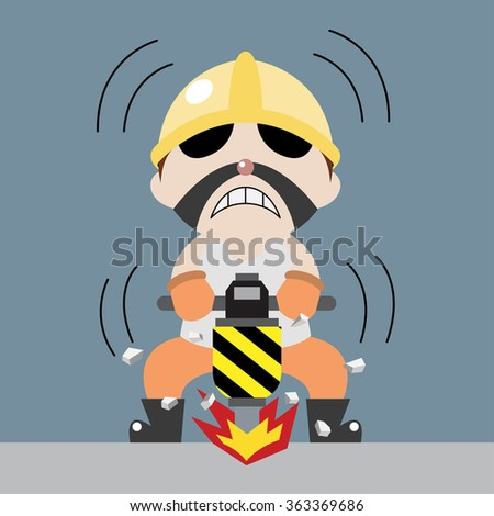 worker drill the ground cartoon vector
