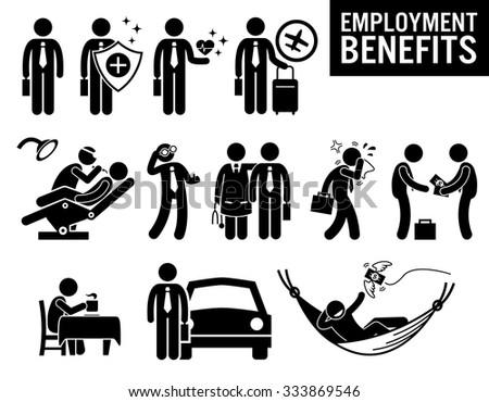 Worker Employment Job Benefits Stick Figure Pictogram Icons - stock vector