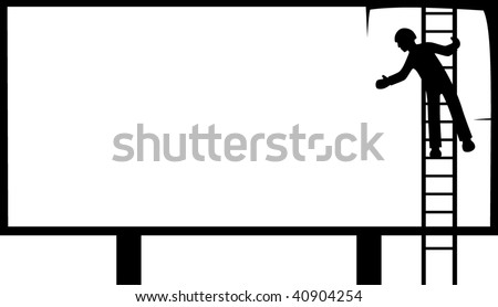 worker finishing the last piece of a billboard - stock vector