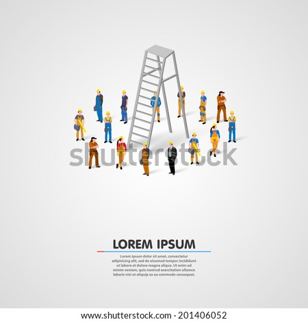 Worker group with ladder. Vector illustration - stock vector