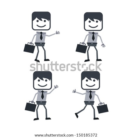 worker guy set with briefcase set - stock vector