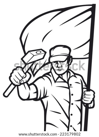 worker holding flag and hammer - industry poster (industry design, construction worker, poster for labor day) - stock vector