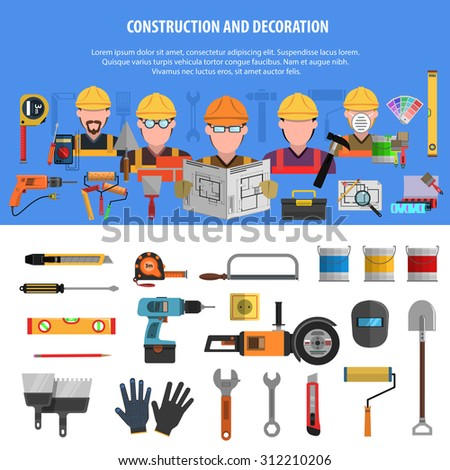Worker horizontal banner set with construction and decoration elements isolated vector illustration - stock vector