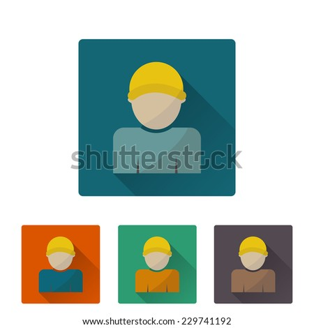 Worker icon, flat design on 4 color background. Vector illustration - stock vector
