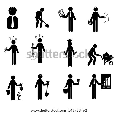 worker icons over white background vector illustration - stock vector