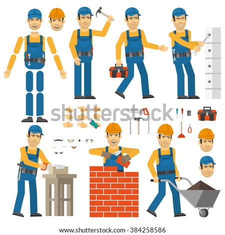 Worker in various poses. Customizable men with tools and work clothes. Set yourself desired pose. - stock vector