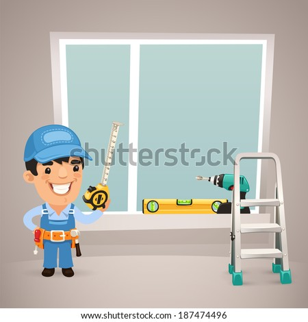 Worker Is Installing the Window. In the EPS file, each element is grouped separately. - stock vector