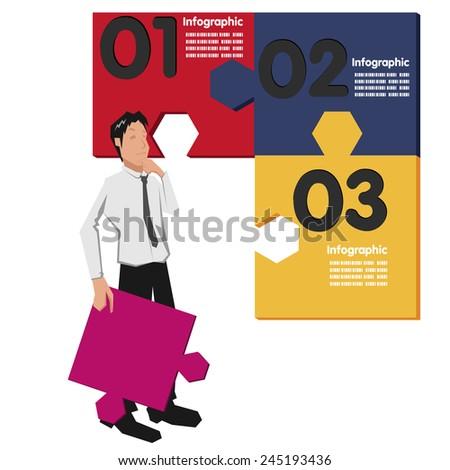 worker jigsaw - stock vector