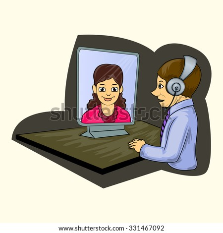 worker making teleconference cartoon illustration - stock vector