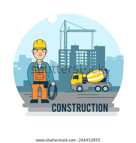 Worker on the construction site. - stock vector