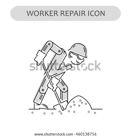 Worker Repair Icon. Building and construction logo. Isolated gray sign white background. Vector illustration. Usable for web, infographic and print