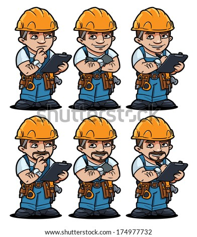 worker set - stock vector