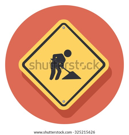 worker sign flat icon in circle - stock vector