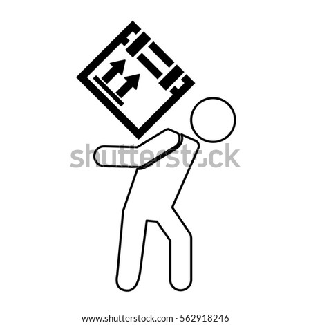 worker silhouette lifting box vector illustration design