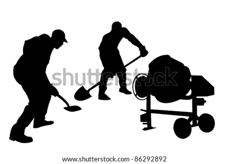 worker silhouettes isolated on white - stock vector