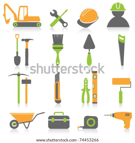 Worker tools icons - stock vector