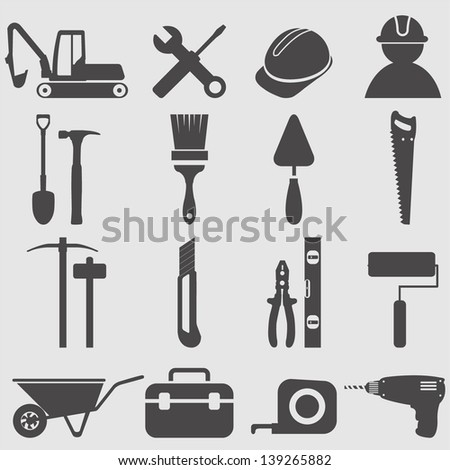 Worker tools icons set.Vector - stock vector