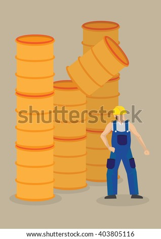 Worker under a falling barrel. Vector cartoon illustration on falling objects hazards and workplace accident concept isolated on plain background. - stock vector