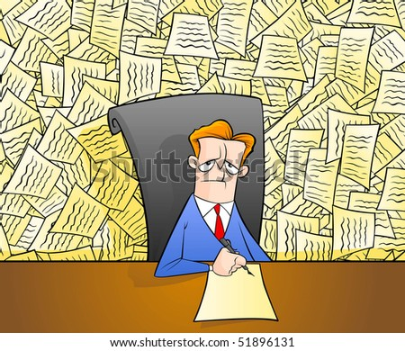 Worker under too much Red-tape - stock vector