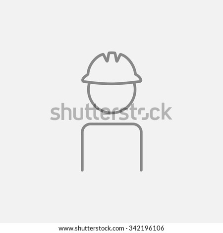 Worker wearing hard hat line icon for web, mobile and infographics. Vector dark grey icon isolated on light grey background. - stock vector