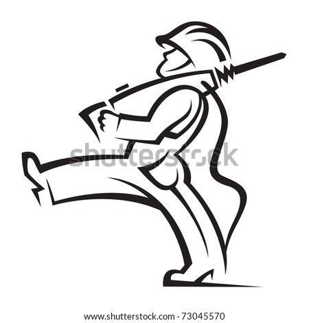 worker with jackhammer - stock vector