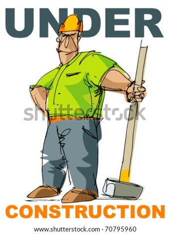 worker with really big hummer - stock vector