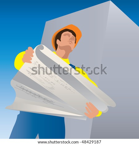 Worker with the plan of construction in his hands. - stock vector