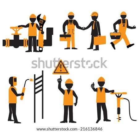 Worker with tool. - stock vector
