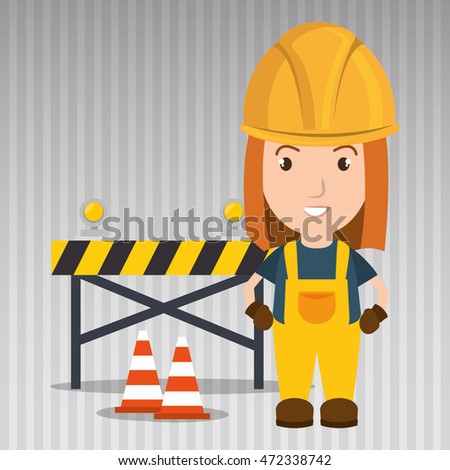 worker with warning security tool vector illustration design