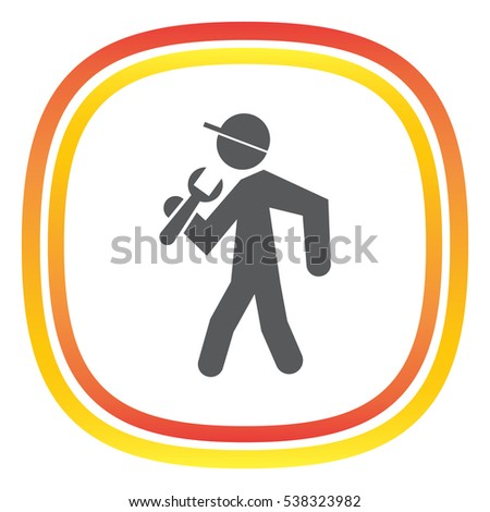 Worker with wrench vector icon. COnstruction sight sign. Mechanic repair symbol