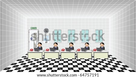 Workers at their desk in an office - stock vector