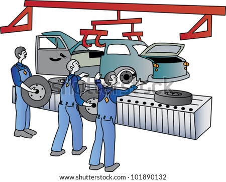 Workers on a motor vehicle assembly line - stock vector