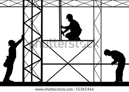 workers on site - stock vector