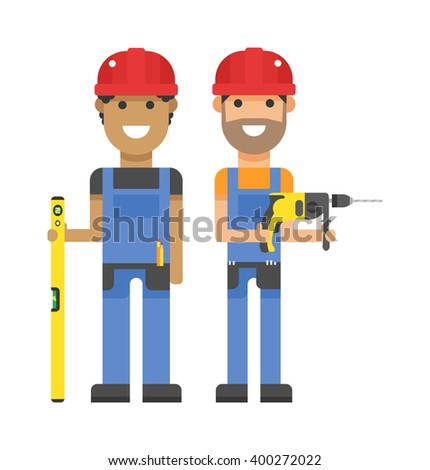 Workers people building team and group workers people service. Profession engineering workers people. Set of professional workers people building team in helmets builders flat vector illustration. - stock vector