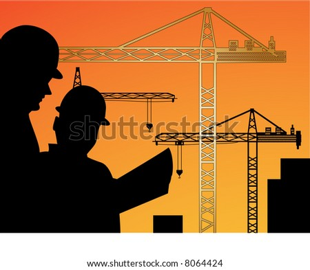 workers reading plan with cranes behind (workers one unit  - cranes on individual layers) - stock vector