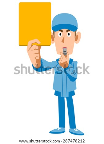 Workers showing the yellow card - stock vector