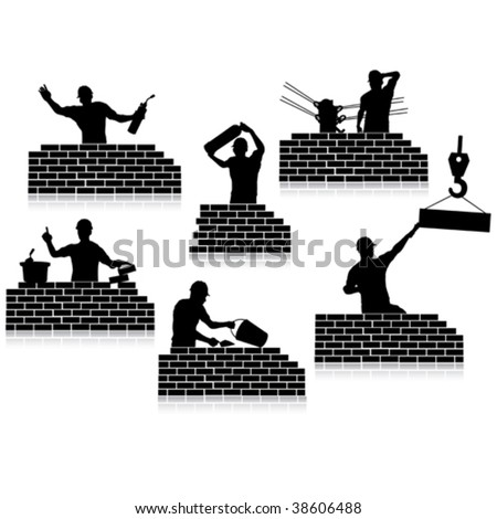 Workers silhouettes close-up and construction wall - stock vector