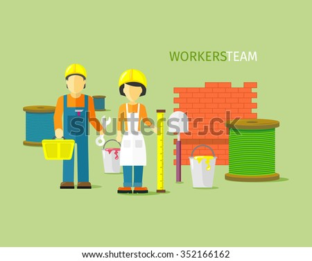 Workers team people group flat style. Work and construction worker, group of workers, employees and teamwork, person professional engineer illustration - stock vector