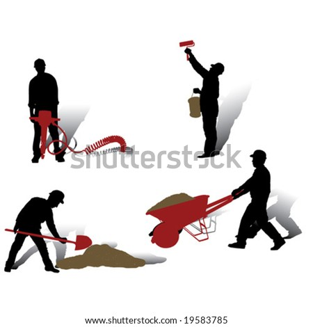Workers vector silhouettes collection - stock vector