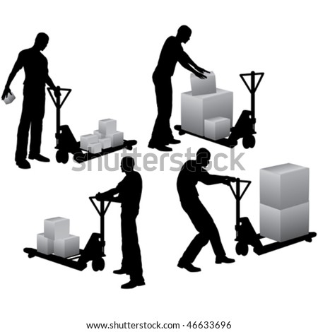 Workers with pallet stacker loading and carrying cardboard boxes - stock vector