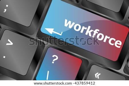 Workforce keys on keyboard - business concept . vector illustration - stock vector