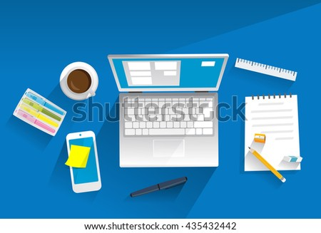 Working equipment on desk, laptop, mobile phone, coffee, pen. Isolated objects. Illustration. - stock vector